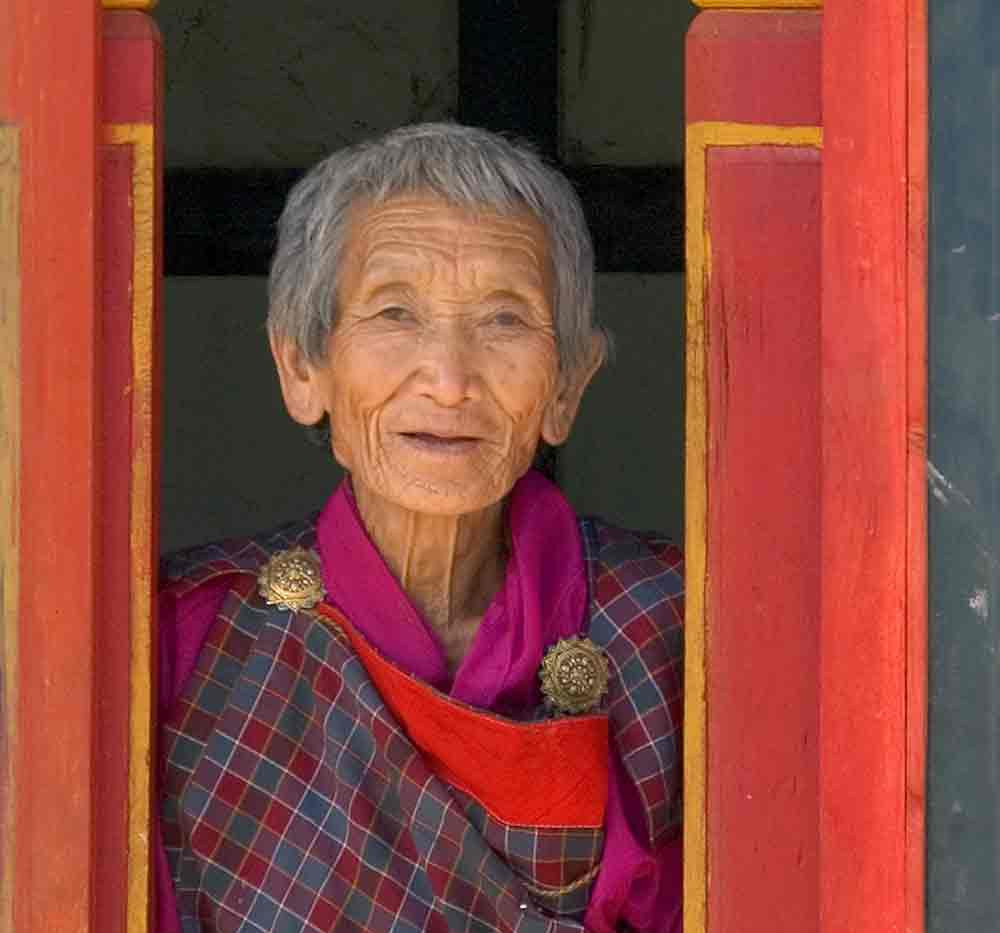 A Bhutanese grandmother in her country home
