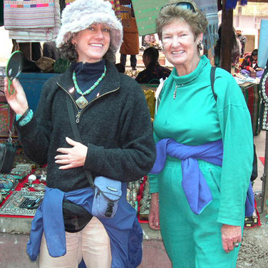 Guest Reb B and mother treasure hunting at the weekend Tibetan market
