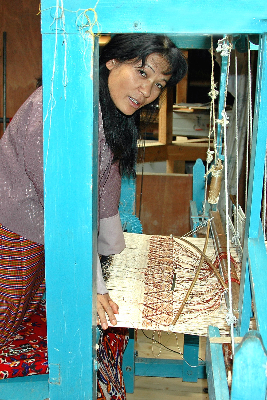 Deki, at a traditional Bhutanese textile loom