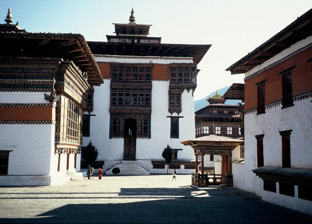 The beautiful courtyards of the Thimphu Tashichhodzong are examples of form and function in Bhutanese architecture