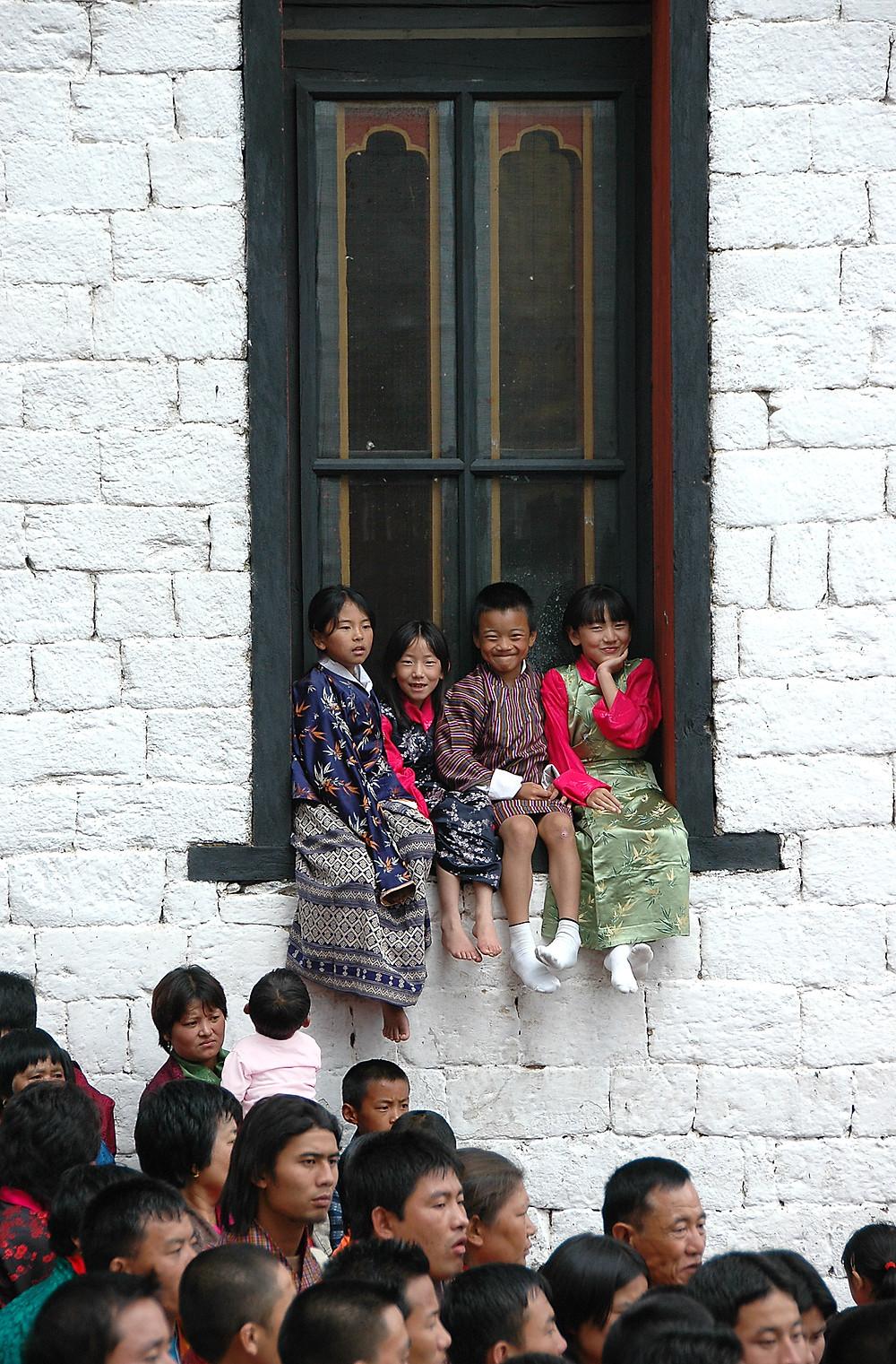 Bhutanese children in their festival best