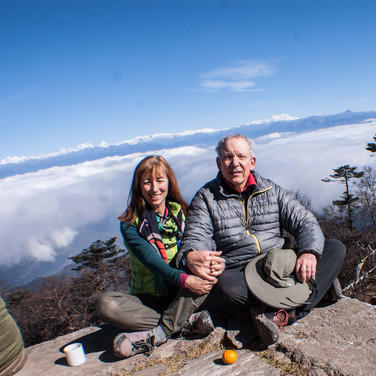 Guests at a mountaintop shrine