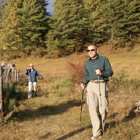 Guest Byron and group hiking in Tang