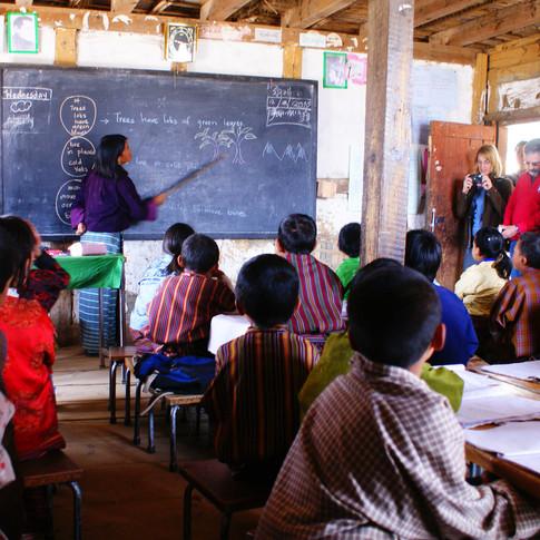 In a schoolhouse in Gangtey