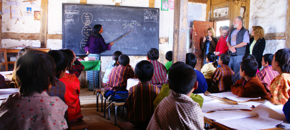 Guests in a Bhutanese schoolhouse