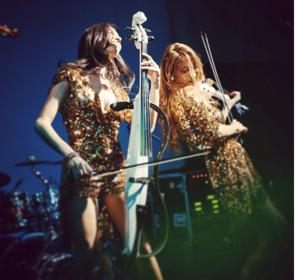 Patricia and Andreea on stage
