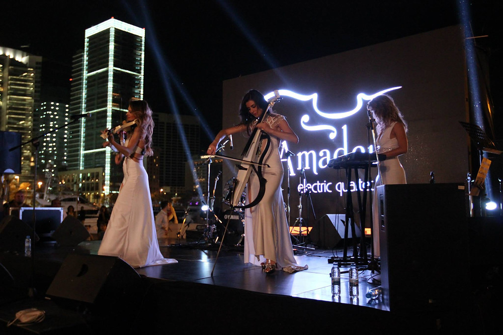 amadeus electric quartet while playing in stage in beirut