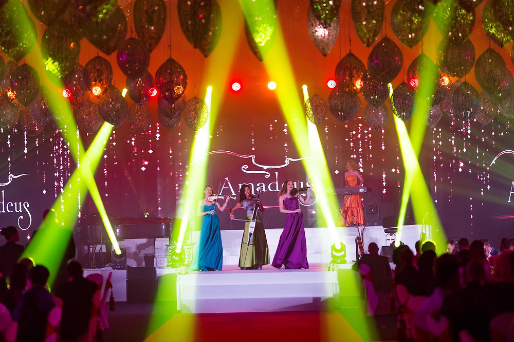 Live show of Amadeus Electric Quartet performing on stage in Dubai at Atlantis The Palm