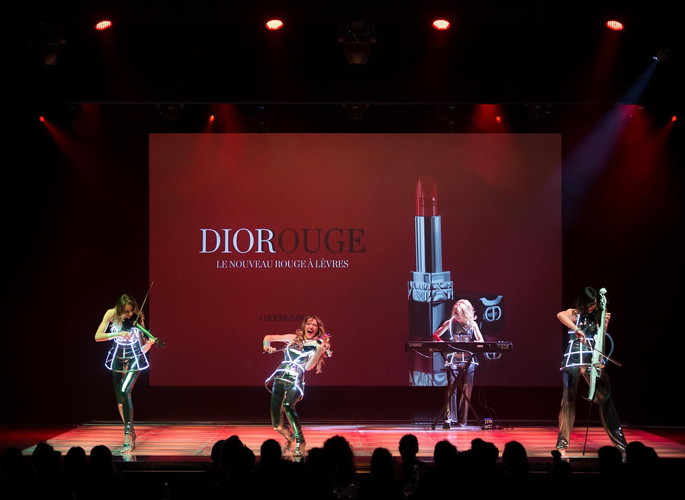 Amadeus Electric Quartet girls performing in Salle des etoiles in Monaco for Dior french beauty house