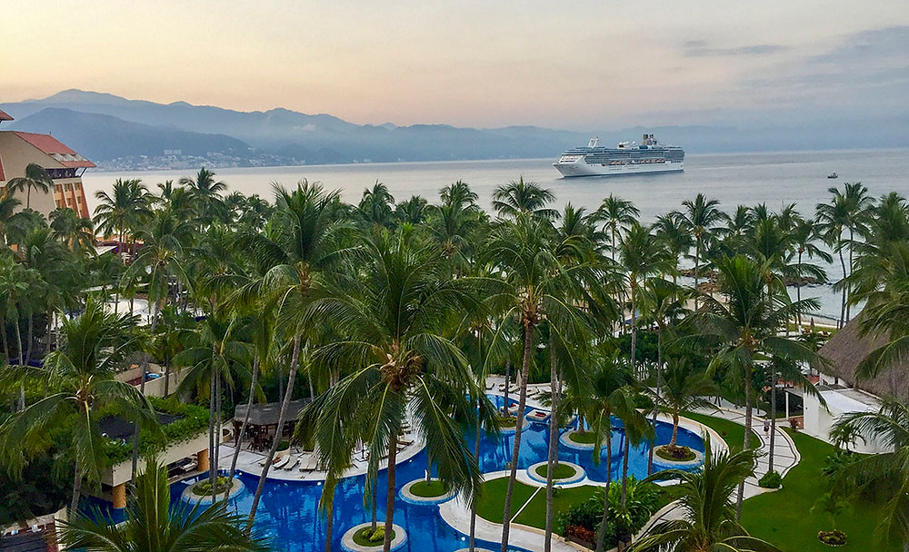 morning view over puerto vallarta bay with a cruise ship in the background