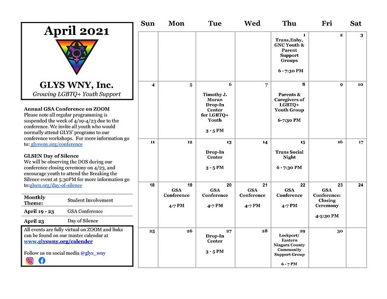 GLYS 2021 Monthly Calendar - Google Docs