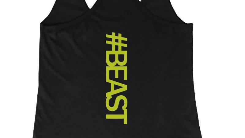 #Beast Neon Back Print Women's Work Out Tank Top Gym Sleeveless Beast Tanks
