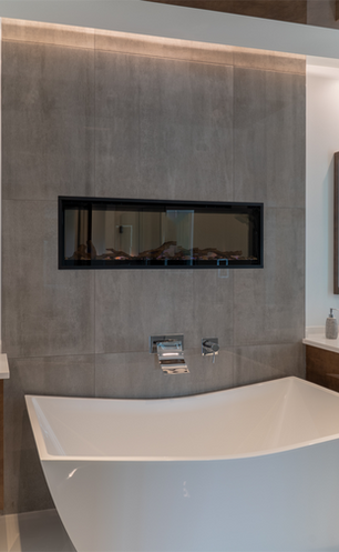 Master Bath Vanities, Bathtub and Fireplace