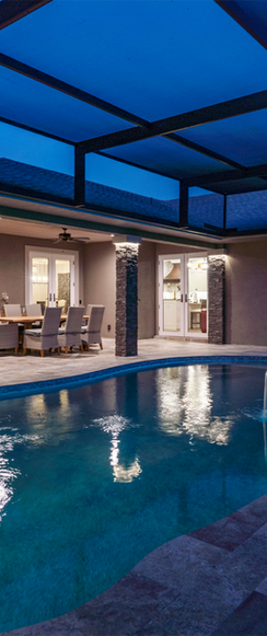 Outdoor dining, kitchen and pool.