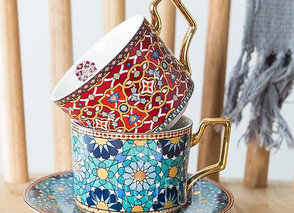 Gold Handle Moroccan Tea Cup