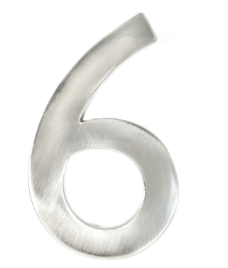 """Taymor #6 4"""" Modern Style House Number in Satin Nickel Finish"""
