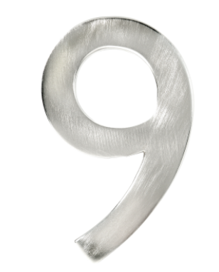 """Taymor #9 4"""" Modern Style House Number in Satin Nickel Finish"""