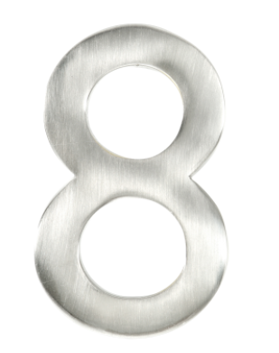 """Taymor #8 4"""" Modern Style House Number in Satin Nickel Finish"""