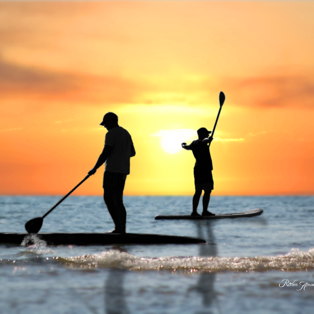 P18 45RA Paddleboards Two Men Sunset