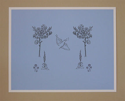 Original Album Artwork by Chloë March Giclée Print of rose trees and starling