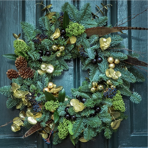 20 Inch Gold Leaf Wreath (Delivery 21 Dec)