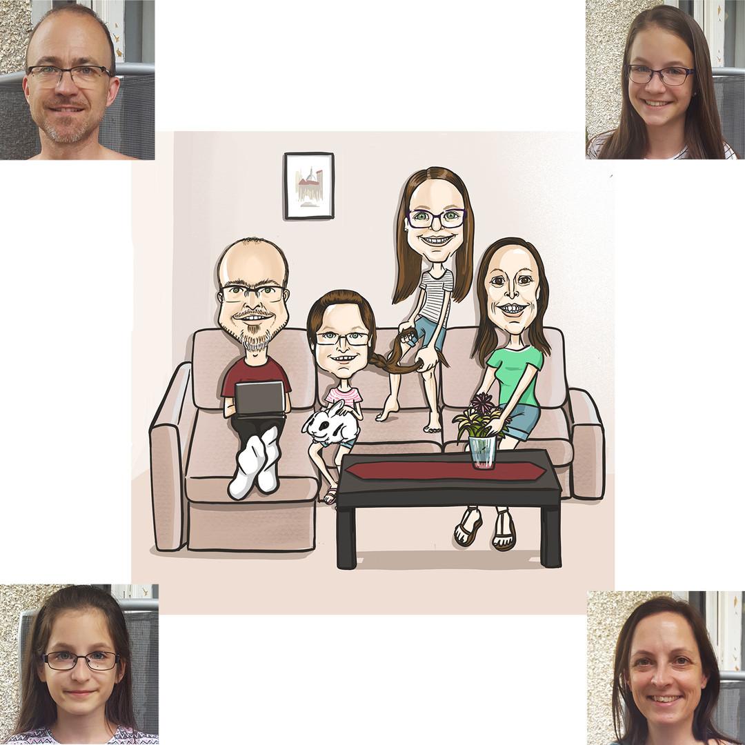 """Családi karikatúra is akad: egy otthon chillezős jelenet került ábrázolásra. Ilyenkor is kérek fotót - ez esetben -  a nappali szobáról, hogy """"otthon érezhessék magukat"""", amikor a képre néznek."""