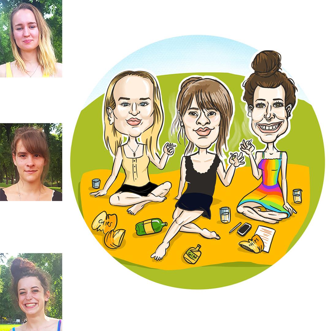 Három barátnő tanulás közben pihen - vagy pihenés közben tanul? Ezt ők sem tudják pontosan. Nyári délután, városliget, cyder, chips, és....