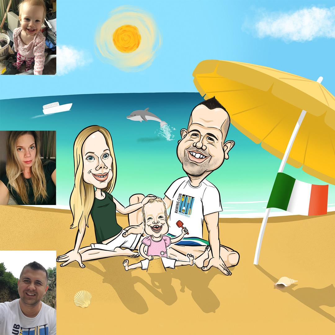 Réka a Facebook oldalam nyereményjátékának győztese: nyereménye egy ajándék karikatúra volt, amit a családjáról kért kedvenc olaszországi tengerpartukon ábrázolva őket, ahova nagyon visszavágyik már, és ezúttal már a kislányukkal térnének vissza.