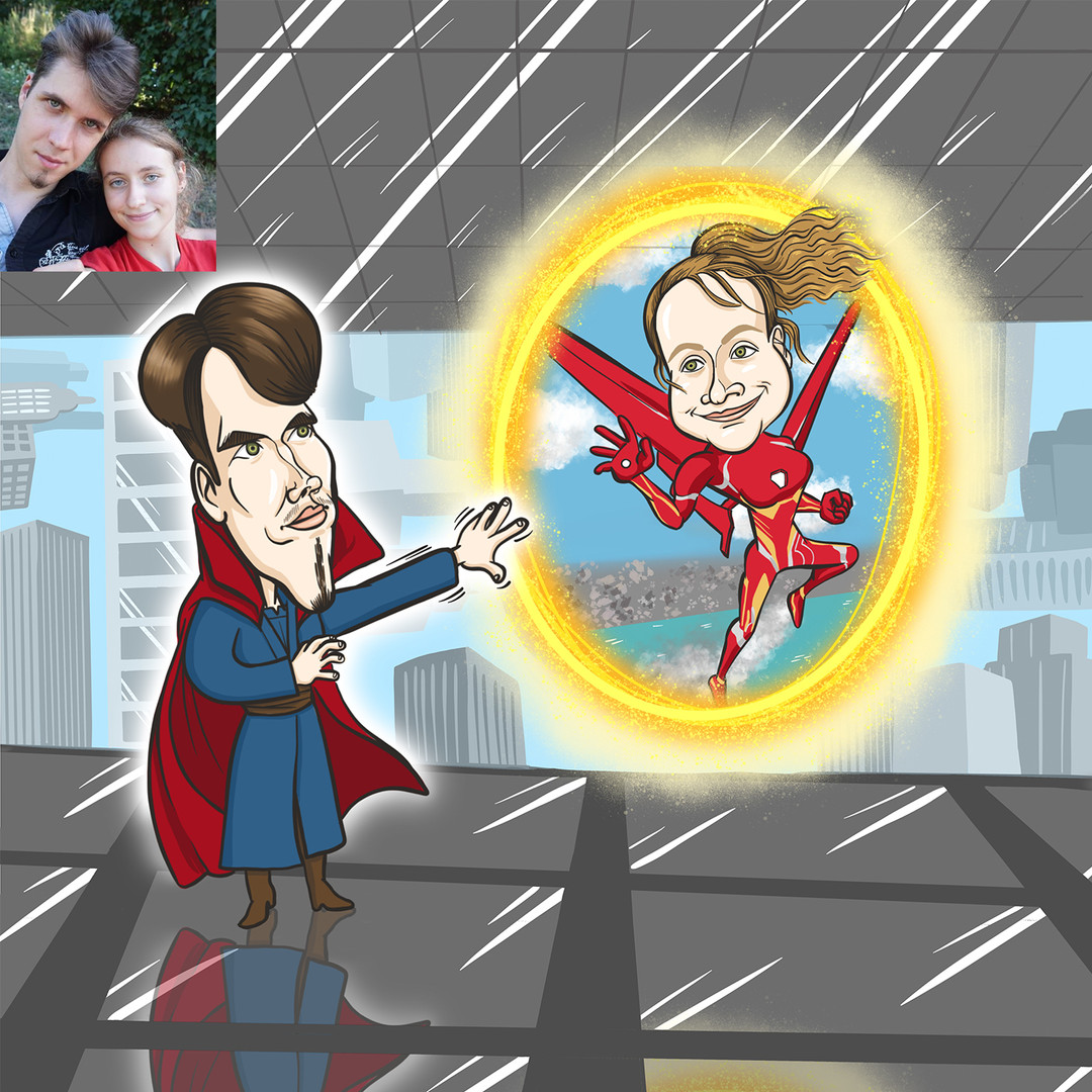 Marvel rajongók Valentin-napja. A szerelmesek ünnepére, egyúttal névnapi ajándékba készült a karikatúra.