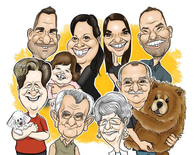 Családi digitális karikatúra