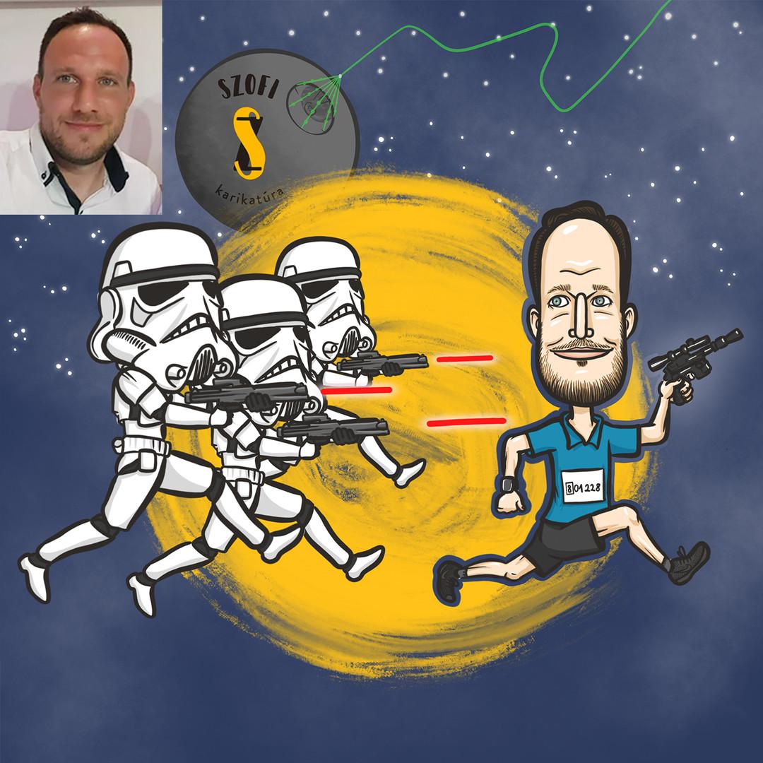 Star Wars mániás futónk Han Soloként menekül az őket üldöző rohamosztagosok elől.