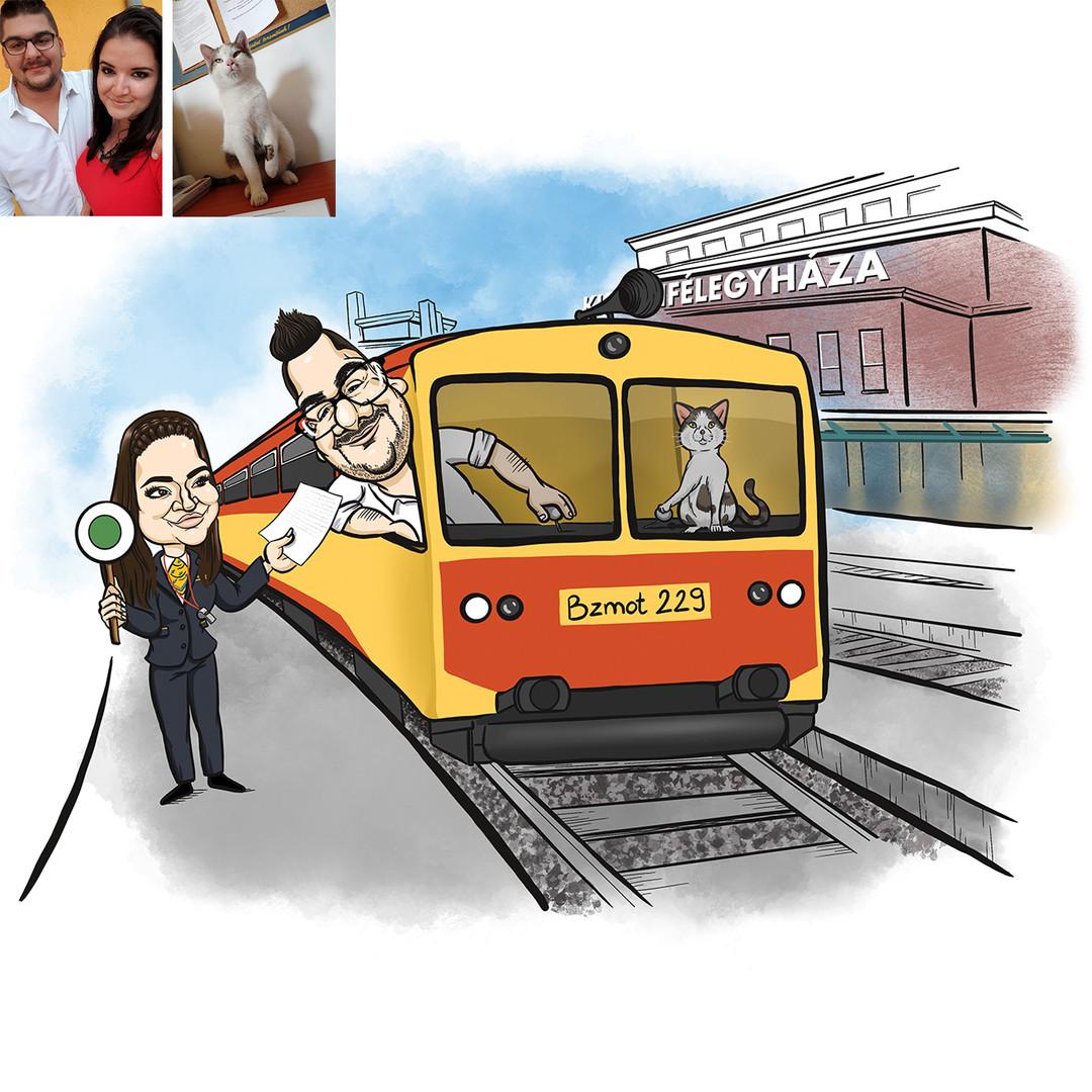 Ági vőlegényének kérte tőlem ajándékba az alábbi karikatúrát. Mindketten a MÁV-nál dolgoznak, egy kép erejáig a cicájuk is besegített a vonatvezetésbe.