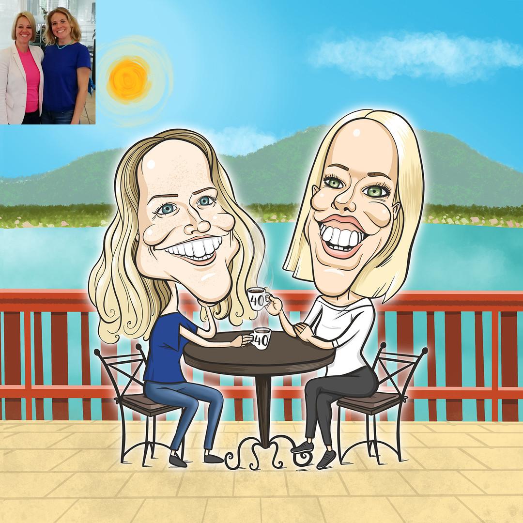 Timi legkedvesebb barátnőjét lepte meg a 4. x betöltése alkalmából egy közös karikatúrával. Balatoni kávézgatás, de jó is az!