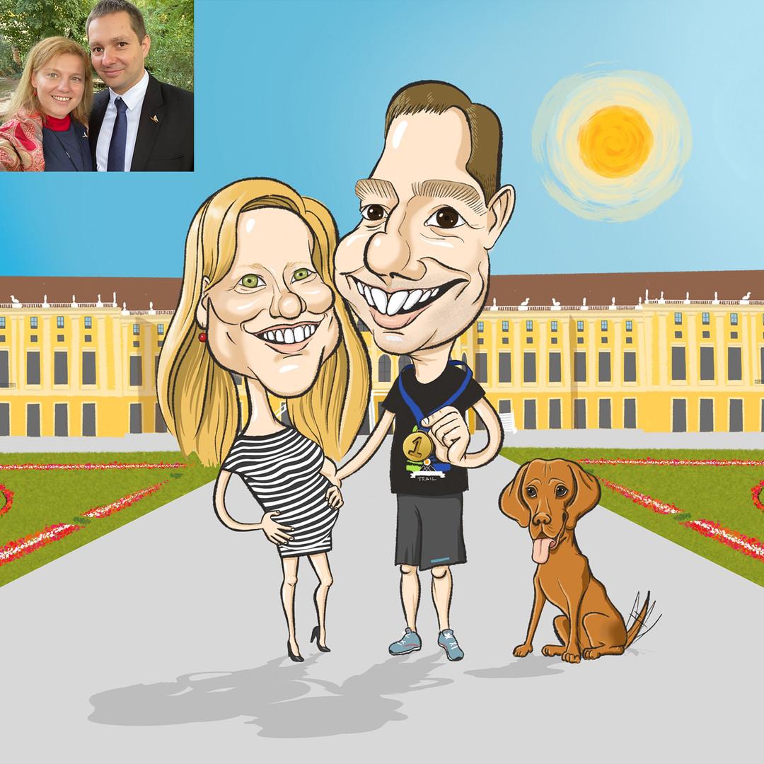 Csilla egy családi karikatúrával lepte meg futásért rajongó férjét születésnapjára. Egyik legszebb emlékük a bécsi Schönbrunnhoz köti őket. Azóta szülők lettek egy babavizslának köszönhetően, és nemsokára a szó klasszikus értelmében is azzá válnak. :)