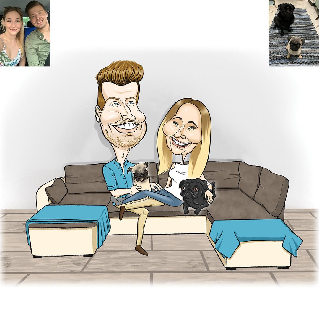 Mopsz imádat van, kérem szépen! Koriék is jegyben járnak a kép készültekor, és ennek örömére kiskutyájuk mellé beújítottak egy még kisebb kutyát, és ezt mind megünneplendő rendeltek tőlem egy családi karikatúrát.