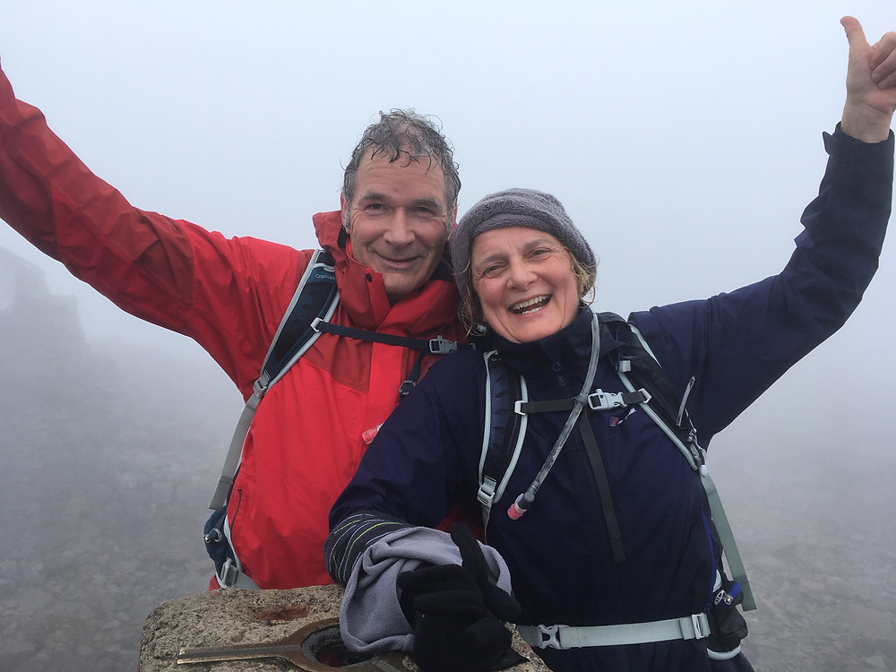 Hilary and Des Barry at the summit