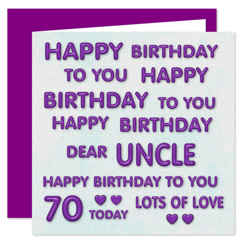Rosie Online 70th Uncle Happy Birthday Card Perfect Purple Design 70 Today