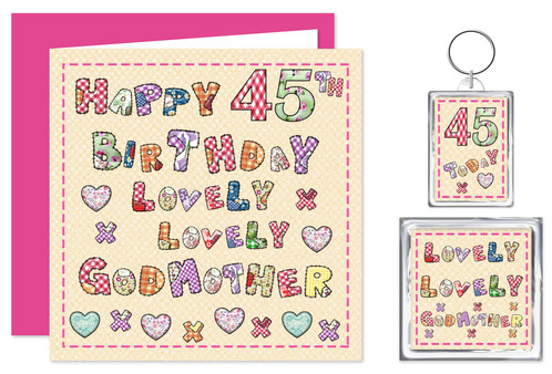 Rosie Online 45th Godmother Birthday Gift Set Card Keyring Magnet Lovely You