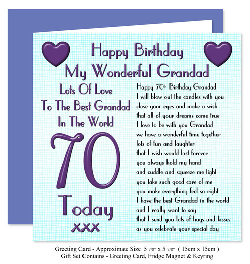 ... Rosie Online 70th Grandad Birthday Gift Set - Card for Gift Set – Lots Love Verse ...