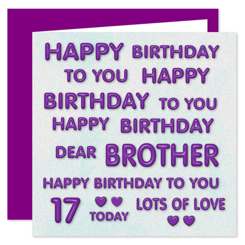 17th Brother Happy Birthday Card Perfect Purple Design 17 Today