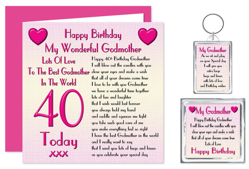 Rosie Online 40th Godmother Birthday Gift Set Card Keyring Magnet Lots Love