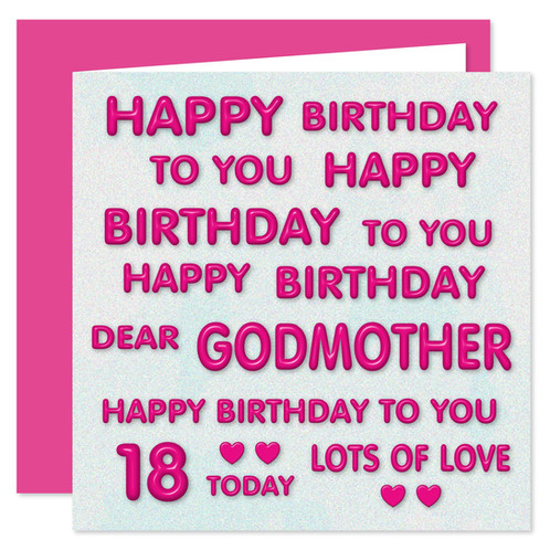 Rosie Online 18th Godmother Happy Birthday Card Perfect Pink Design 18 Today