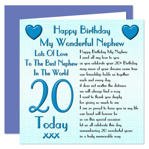 Rosie Online 20th Nephew Happy Birthday Card Lots Of Love Design