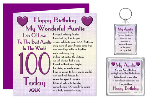 Rosie Online 100th Auntie Happy Birthday Gift Set
