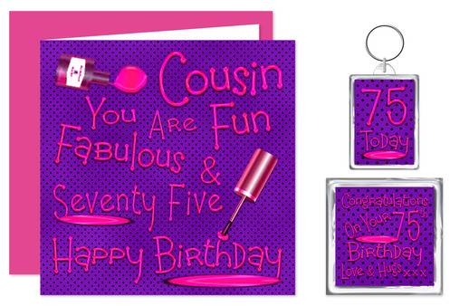 Rosie Online 75th Cousin Birthday Gift Set Card Keyring Magnet Naughty Nails