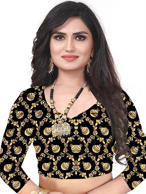 Latest design Black & Golden Jacquard Blouse