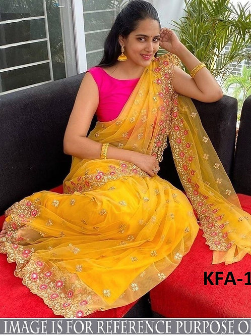 yellow saree, soft net saree, new collection, new arrival, plain pink blouse, embroidery work saree