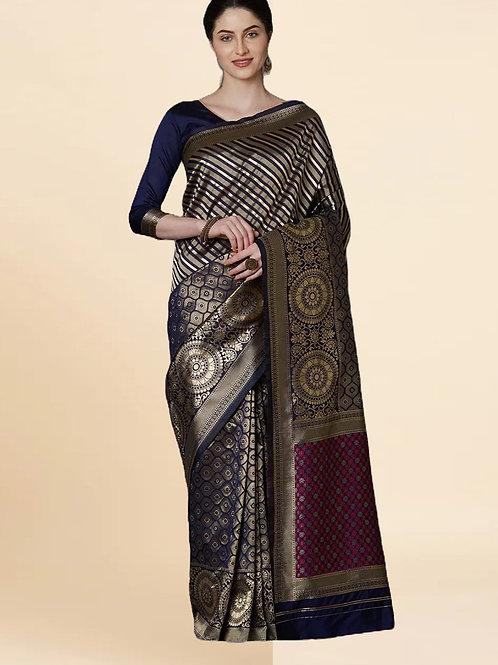 New Arrival Lichi Silk Blue Saree