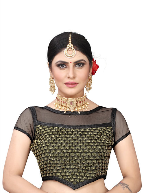 Latest Black Silk Readymade with Pad Blouse