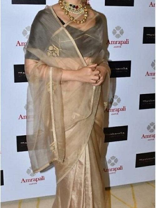 new collection, replica saree, kangna ranaut saree, golden saree, black blouse, trending saree, Bollywood replica